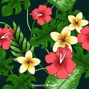 Tropical background with colorful flowers