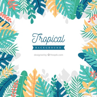Tropical background with different leaves