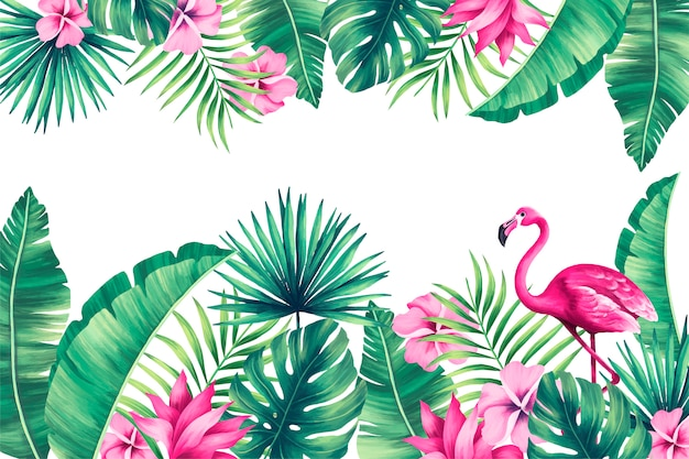 Tropical background with exotic nature