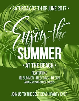 Tropical background with exotic palm leaves. enjoy the summer party poster or flyer design.