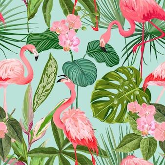 Тропический фон с фламинго и пальмовыми листьями. зеленые растения бумага или текстильный принт, орнамент декоративных обоев тропических лесов. бесшовные модели, экзотическая тропическая оберточная бумага. векторные иллюстрации