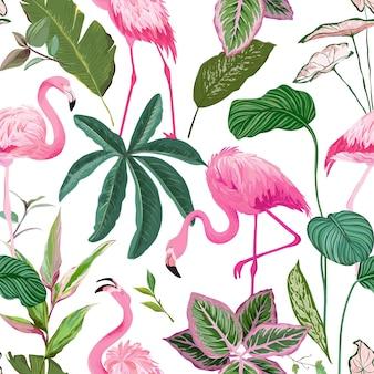 Тропический фон с фламинго и пальмовыми листьями. обои с растениями тропического леса, природный текстильный орнамент. бесшовный узор, экзотическая тропическая оберточная бумага, ткань или одежда с принтом. векторные иллюстрации