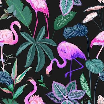플라밍고와 야자수 잎 열 대 배경입니다. 원활한 패턴, 이국적인 트로픽 포장지. 녹색 식물 종이 또는 섬유 인쇄, 열대 우림 장식 벽지 장식. 벡터 일러스트 레이 션