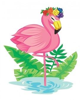 フラミンゴと虹のバラの花を持つ熱帯の背景