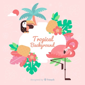 Tropical background with flamingo and flowers