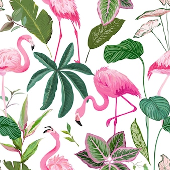 Tropical background with flamingo and palm leaves. rainforest plants wallpaper, nature textile ornament. seamless pattern, exotic tropic wrapping paper, fabric or apparel print. vector illustration