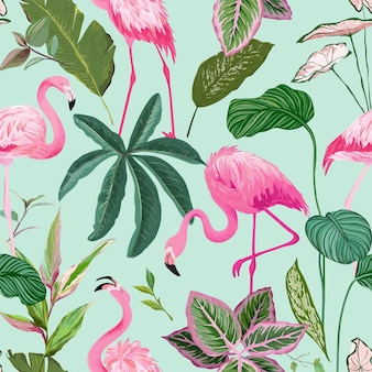 Tropical background with flamingo and palm leaves. seamless pattern, botanical background. realistic exotic tropic plants ornament for wrapping paper, fabric or apparel print. vector illustration
