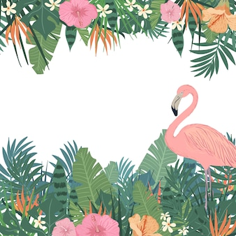 Tropical background with flamingo
