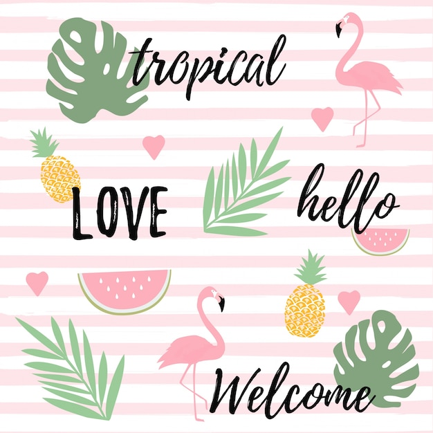 Tropical background with flamingos, watermelon and pineapples