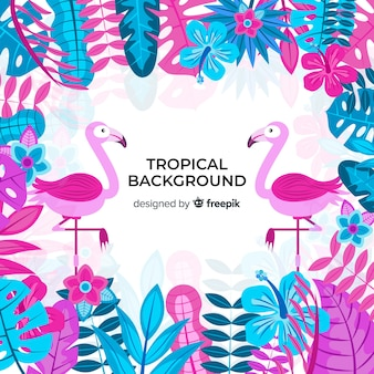 Tropical background with flamingos