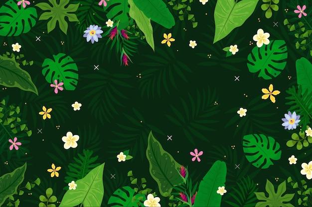 Тропический фон с цветами и листьями