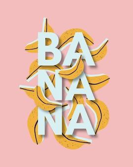 Тропический фон с нарисованными от руки бананами и текстом