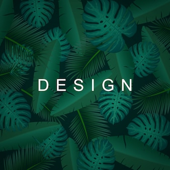 Tropical background with jungle plants. exotic pattern with palm leaves