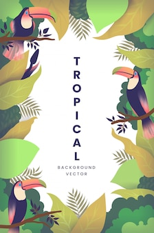 葉とオオハシ鳥と熱帯の背景