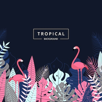Tropical background with leaf and flamingo bird.