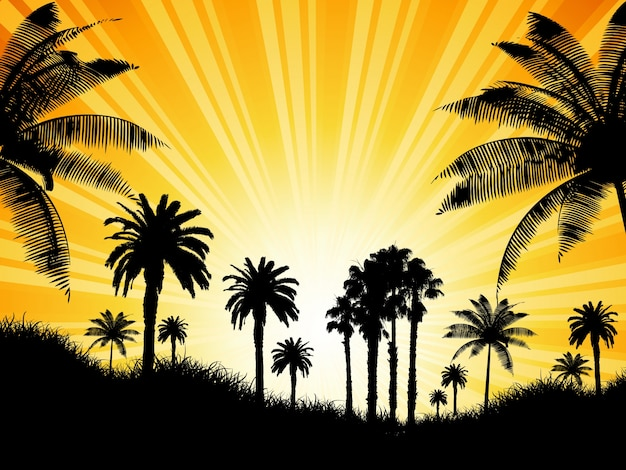 Tropical background with palm trees against a sunny sky