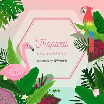Tropical background with parrot and flamingo