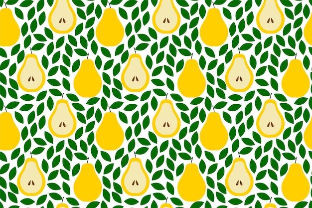 배와 열 대 배경입니다. 과일 반복된 배경입니다. 과일과 함께 완벽 한 패턴의 벡터 일러스트 레이 션. 현대 이국적인 추상 디자인입니다.