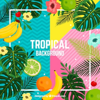 Tropical background with plants and fruits