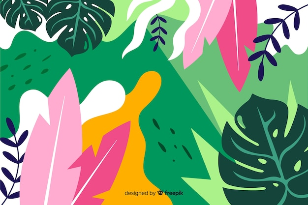 Tropical background with plants and leaves composition in flat style design