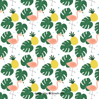 Tropical background with plants and