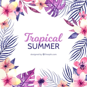 Tropical background with purple plants