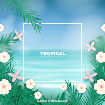 Tropical background with realistic design