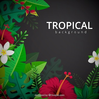 Tropical background with realistic plants