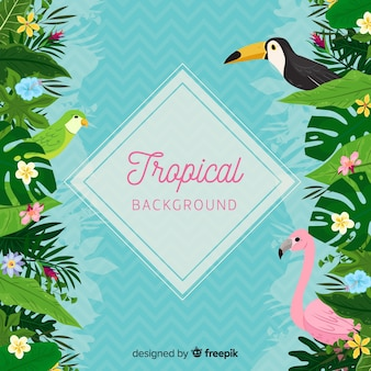 Tropical background with toucan and flamingo