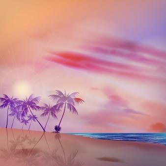 Тропический фон с фиолетовым цветные пальмы