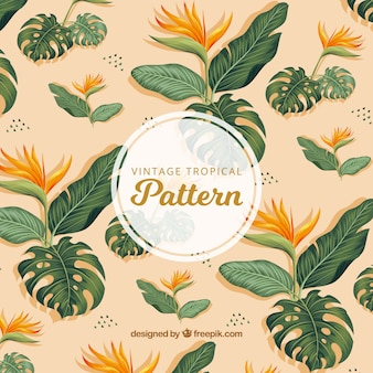 Tropical background with watercolor leaves and flowers