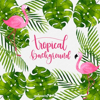 Tropical background with watercolor plants and flamingos