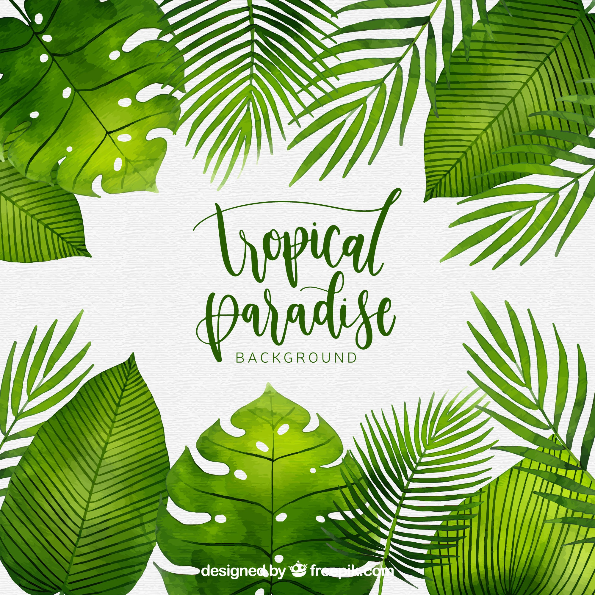 Tropical background with watercolor plants