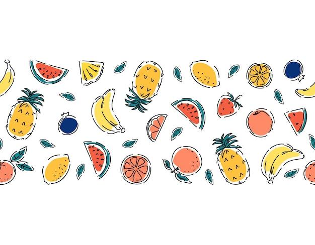 Tropical banana fruits pineapples watermelon and orange juicy summer seamless border