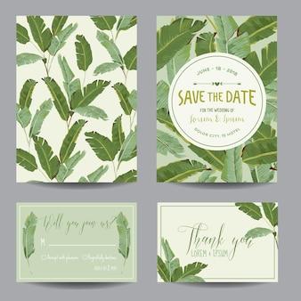Свадебная открытка с тропическими банановыми листьями