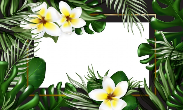 Tropical banner with palm leaves, monstera, plumeria flowers, confetti, gilded frame and space for text. summer background for events, midnight summer party, wedding invitations.
