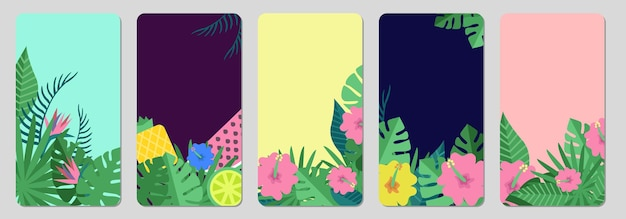 Tropical banners. exotic leaves, fruits social media stories template.