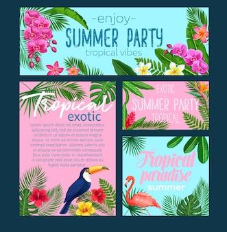 熱帯のバナー。鳥ピンクのフラミンゴとオオハシと花のジャングルの夏の背景