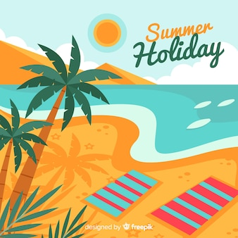 Tropical beach background in flat style