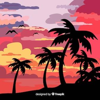 フラットスタイルのトロピカルビーチの背景