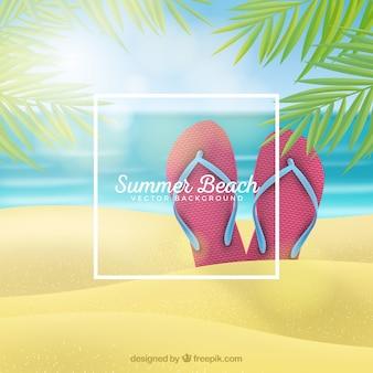 Тропический пляж фон в реалистичном стиле