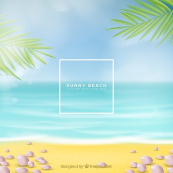 Tropical beach background in realistic style