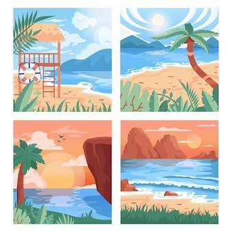 熱帯のビーチの背景セット。夏の風景、美しい海