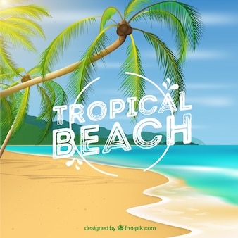 Tropical beach background with palms in realistic style