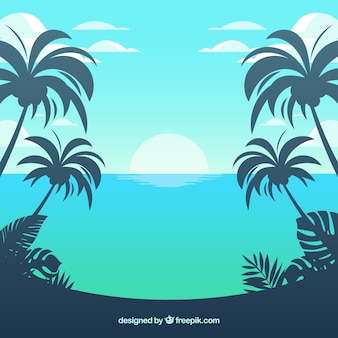 Tropical beach background with palms