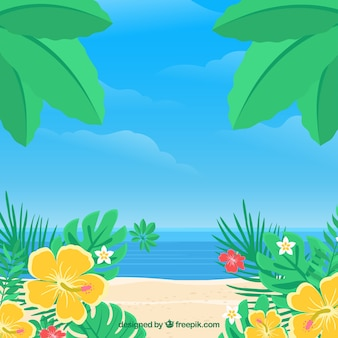 Tropical beach background with vegetation