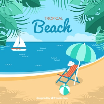 Tropical beach background with view