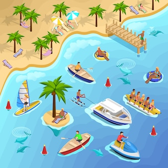 Tropical beach boating background
