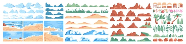 Набор конструкторов тропический пляж. летний пейзаж, море или океан
