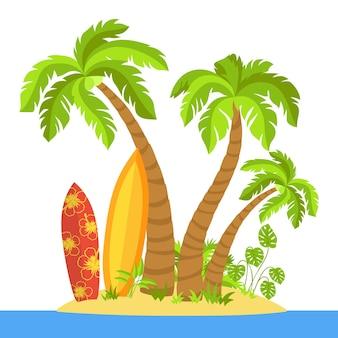 Tropical beach flat cartoon island surfboard, palm trees and sea
